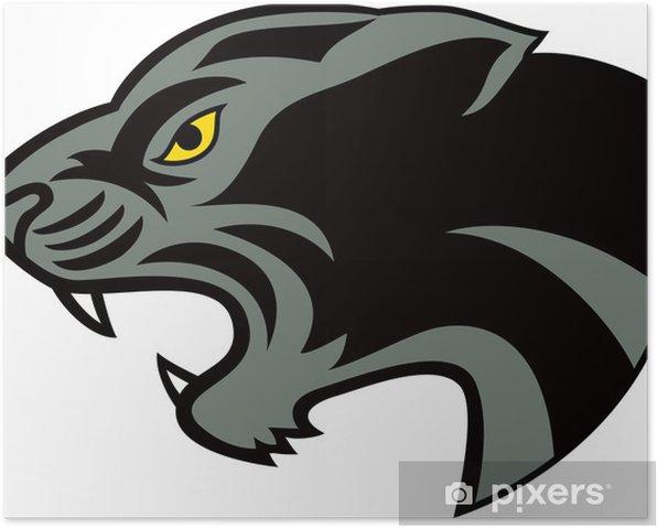 Plakát Černý panter hlava - Savci