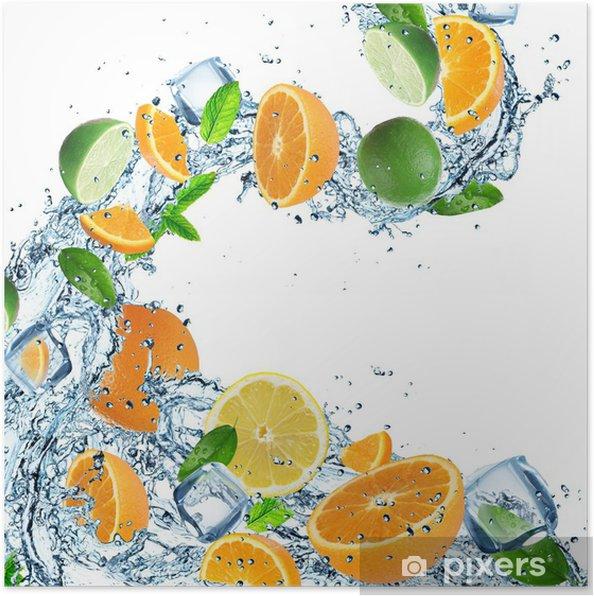 Plakát Čerstvé ovoce s stříkající vodě - Jídla