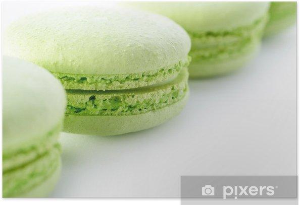 Plakát Čerstvé zelené macarons - Sladkosti a dezerty
