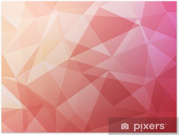 Plakát Červená růžové a oranžové polygon abstraktní pozadí - Pozadí
