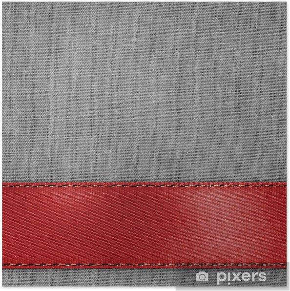 Plakát Červenou stužku na šedém pozadí tkaniny s kopií vesmíru. - Pohlednice
