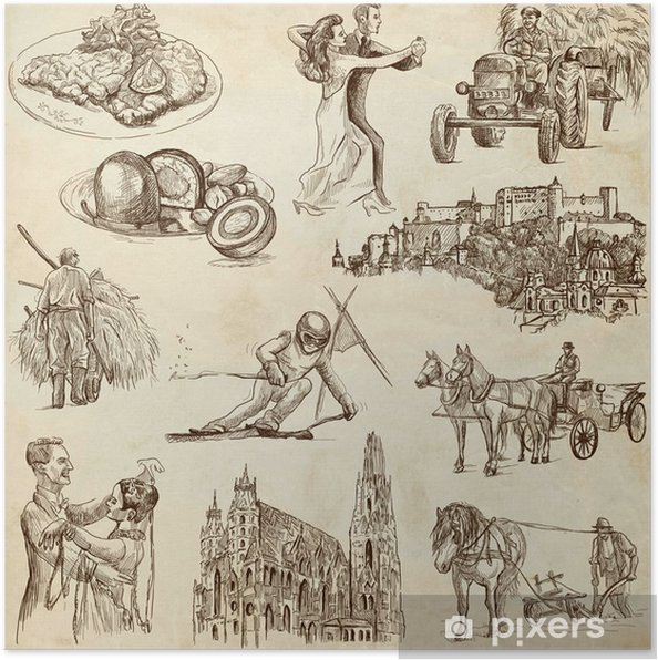 Plakat Cestovani Rakousko Rucni Kresby Stary Papir 1 Cast