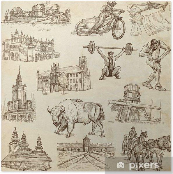 Plakát Cestování série: POLSKO - ruční kresby, starý papír - Evropská města