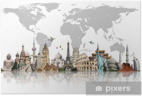Plakát Cestovat po světě památky koncept - Do obývacího pokoje