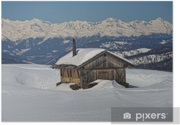 Plakat Chałupa drewno kabina zima w tle śniegu - Sporty zimowe