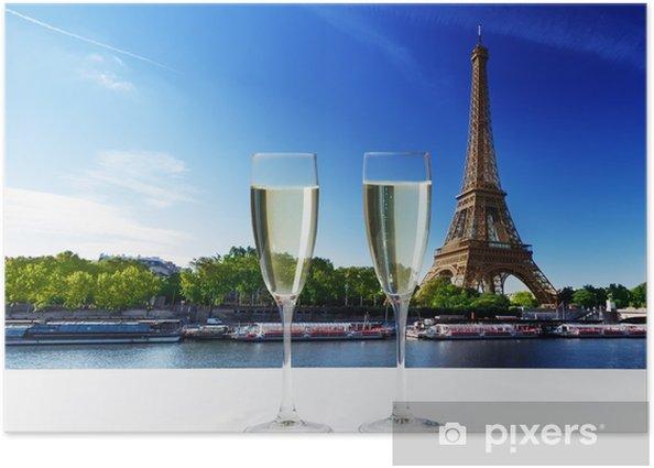 Plakát Champaign brýle a Eiffelova věž v Paříži - Evropská města