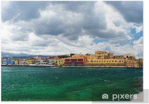 Plakat Chania Crete (Grecja) - panoramiczny obraz z latarni - Europa