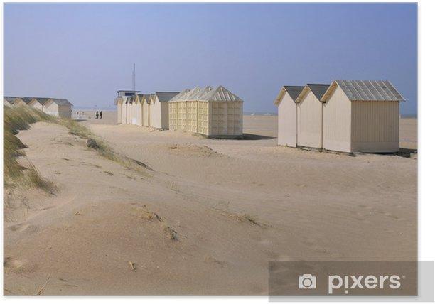 Plakat Chatki plaża w Ouistreham w Normandii we Francji - Wakacje