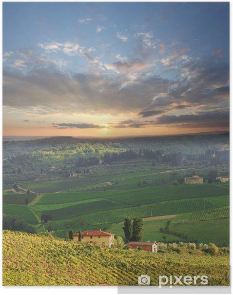 Plakat Chianti, znany winnicy we Włoszech - Tematy