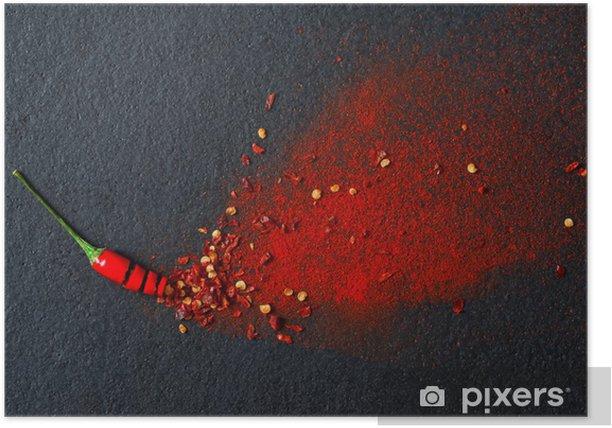 Plakat Chili, papryka chili w proszku i płatków - Przyprawy i zioła