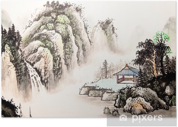 Plakat Chiński krajobraz akwarela painting__ - Krajobrazy