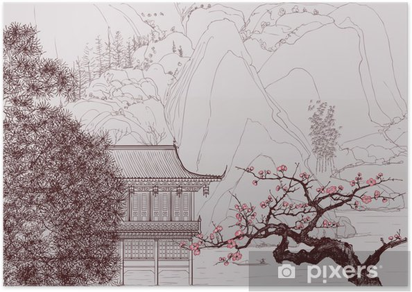 Plakat Chiński krajobraz - Style