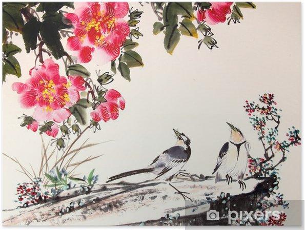 Plakat Chiński malarstwo tuszem ptaków i drzewa - Zwierzęta