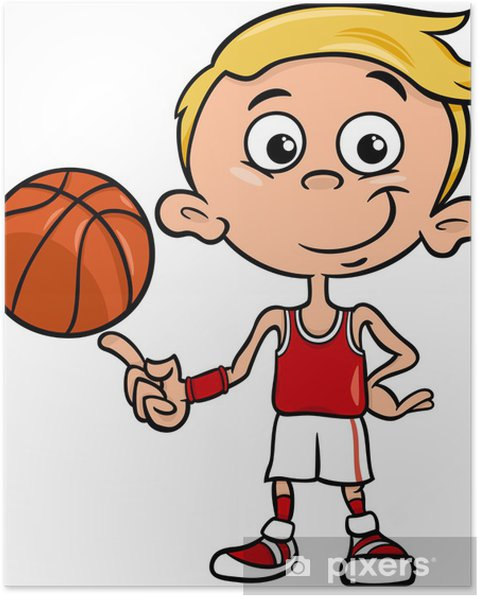 Plakat Chlapec Basketbalista Kreslene Ilustrace Pixers Zijeme