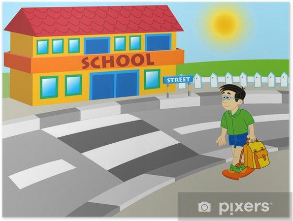 Plakat Chlapec Chuzi Do Skoly Kreslene Ilustrace Pixers