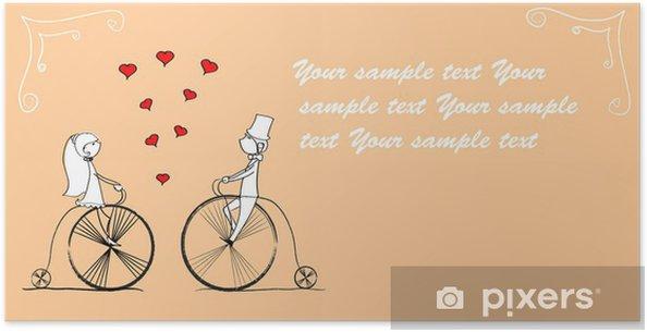 Plakat Chłopak i dziewczyna uwielbia jeździć na rowerze, wektor - Transport drogowy
