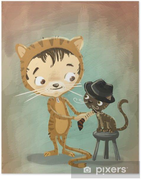 Plakat Chłopiec i kot w przebraniu - Tematy