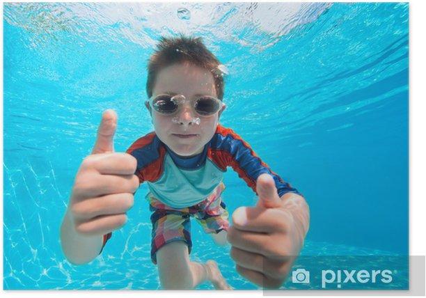 Plakat Chłopiec pływanie pod wodą - Sporty wodne