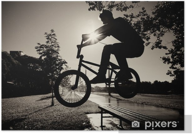 Plakat Chłopiec przeskakując ławce bmx - Kolarstwo