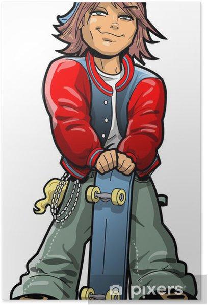 Plakat Chłopiec z Deskorolka - Nastolatkowie