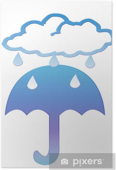 Plakat Chmura deszczu i parasol clipart - Smutek