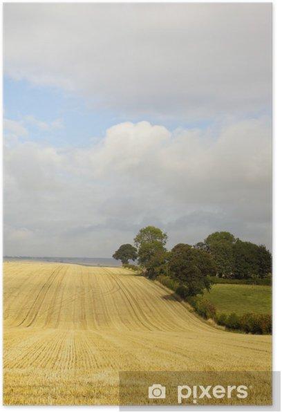 Plakat Chmury nad ściernisko - Krajobraz wiejski