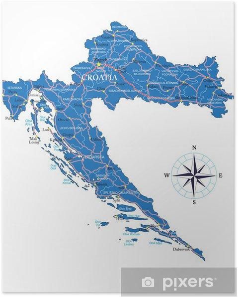Plakát Chorvatsko mapa - Evropa