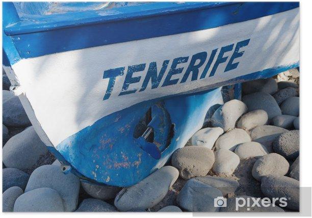 Plakat Chrześcijanie łodzi w plaży Teneryfa - Hiszpania - Transport wodny