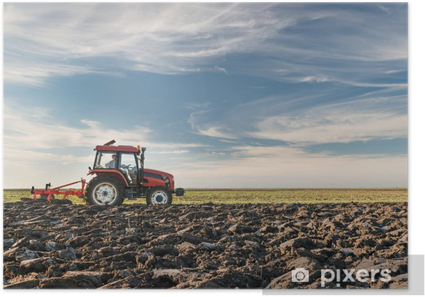 Plakat Ciągnik orki pola - Rolnictwo