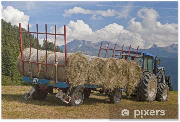 Plakat Ciągnik z bele siana - Rolnictwo