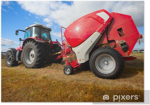 Plakat Ciągnik zbierania stogu siana na polu - Rolnictwo