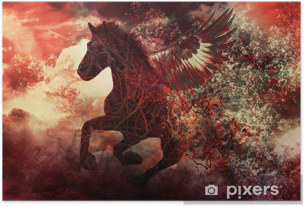 Plakat Ciemny fantazja koń - Fikcyjne zwierzęta