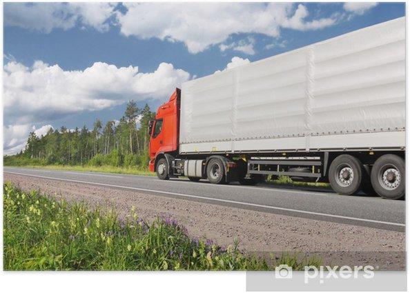 Plakat Ciężarówka na autostradzie, krajobrazu wiejskiego - Pory roku