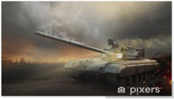 Plakat Ciężka zbroja w ogniu walki -
