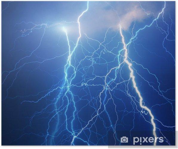 Plakat Ciężkie chmury przynosząc grzmoty, błyskawice i burzy. - Klęski żywiołowe
