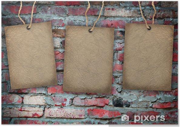 Plakát Cihlová zeď s kartonu štítek - Pohlednice
