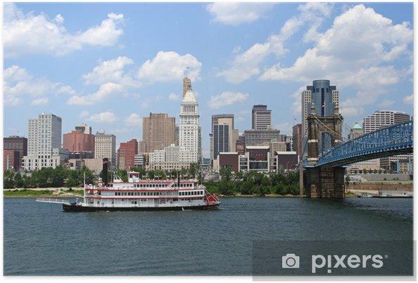 Plakát Cincinnati Skyline a člun - Amerika
