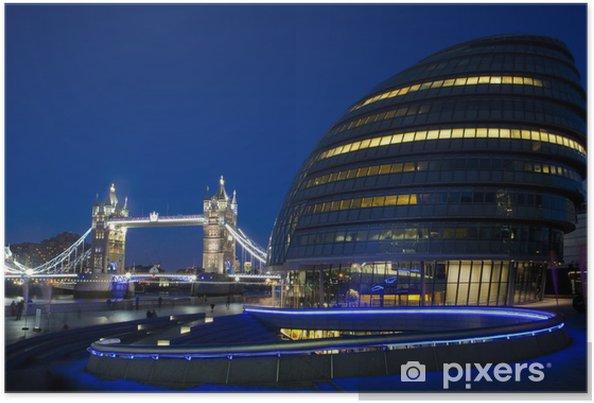Plakát City Hall, Tower Bridge a řeka Temže v Londýně - Témata