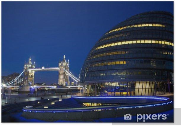 Plakat City Hall, Tower Bridge i rzeki Tamizy w Londynie - Tematy