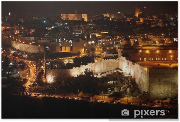 Plakat Classic Jerusalem - Noc w starej części miasta, Wzgórze Świątynne z Al-Aksa - Criteo