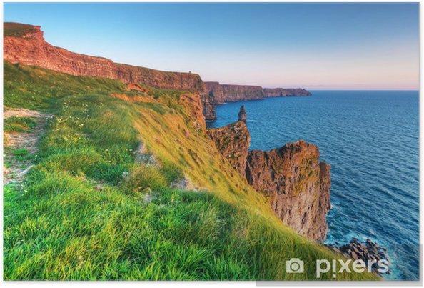 Plakát Cliffs of Moher při západu slunce v hrabství Clare, Irsko - Evropa