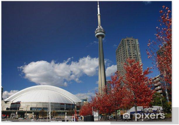Plakat CN Tower i Roger Centrum jesienią - Ameryka