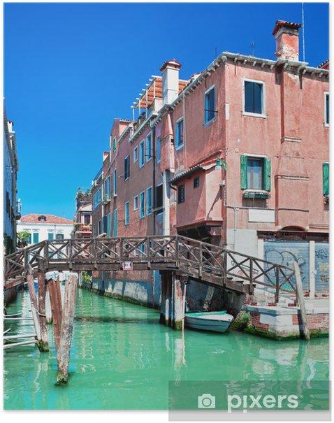 Plakat Colored Wenecja kanał z mostem i domów w wodzie, Włochy - Miasta europejskie