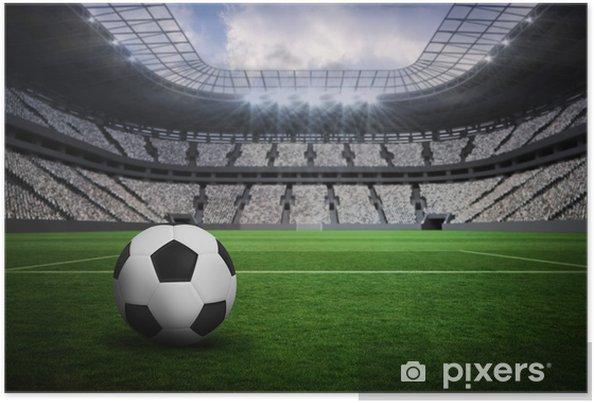 Plakat Composite obraz czarno-biały skóry futbolu - Sport