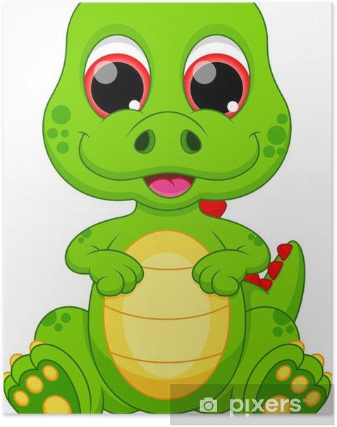 Plakat Cute cartoon dinozaur dziecko - Naklejki na ścianę
