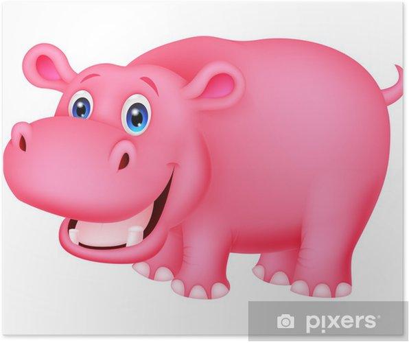 Plakat Cute Hippo kreskówki - Ssaki