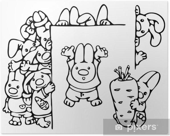 Plakát Cute králíků. - Pozadí