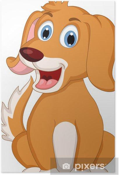 Plakat Cute little cartoon dog wyrażenie - Ssaki