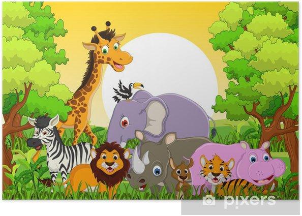 Plakat Cute zwierząt dzikich zwierząt z lasu tle - Dla ucznia