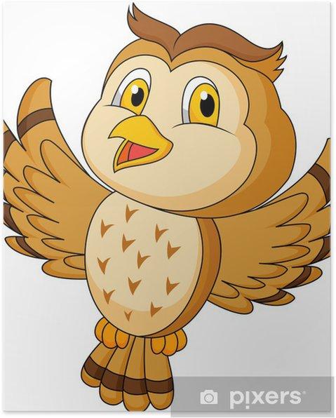 Plakat CVute sowa kreskówki latania - Ptaki